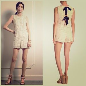 Moon River NEW Back Tie Lace Romper